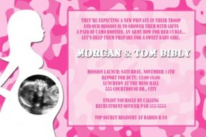 Pink Girl Camo Camouflage Baby Shower Ultrasound Photo Invitation Army Military Marines