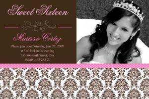 Damask Photo Sweet Sixteen 16 Photo Birthday Party Invitation