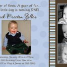 Boy First 1st Birthday Party Photo Invitation Blue Chocolate Brown
