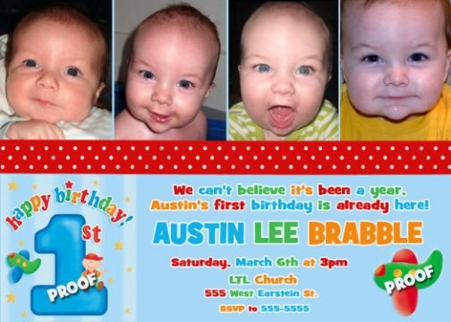 Fun to Be One Airplane First 1st Birthday Photo Party Invitations