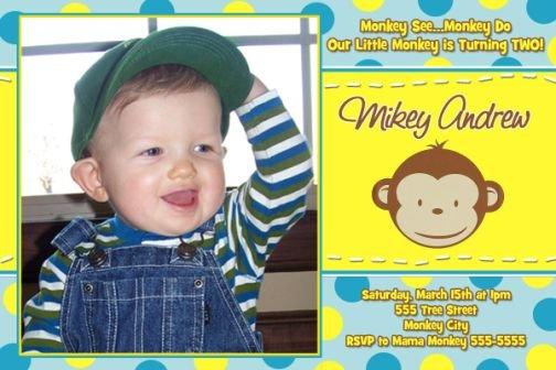 Neon Mod Monkey Boy Girl Photo Birthday Party Invitations