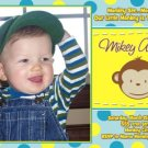 Neon Mod Monkey Boy Girl Photo Birthday Party Invitations