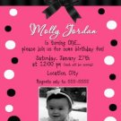 Girl First 1st Birthday Party Photo Invitation Hot Pink Black
