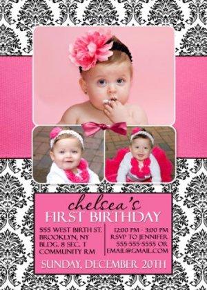Hot Pink Black White Damask First 1st Birthday Party Photo Invitation b889fb9ad