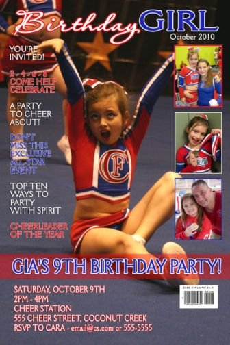 Cheerleader Cheer Magazine Cover Birthday Invitation Sports