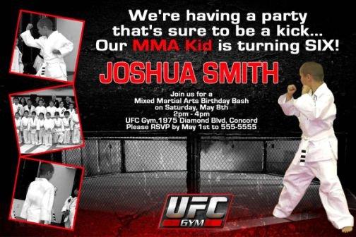 UFC Gym MMA Martial Arts Photo Birthday Invitations
