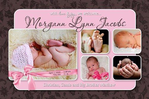 GIRL PINK BROWN MODERN Baby Birth Announcement