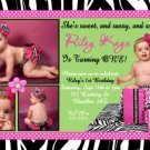 ZEBRA WILD CHILD SASSY DIVA LIME PURPLE PINK BIRTHDAY INVITATION