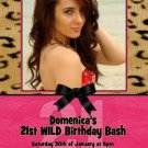 CHEETAH LEOPARD WILD CHILD SASSY HOT PINK BIRTHDAY INVITATION