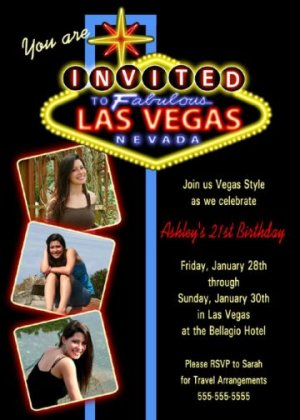 WELCOME TO LAS VEGAS SIGN BIRTHDAY INVITATIONS