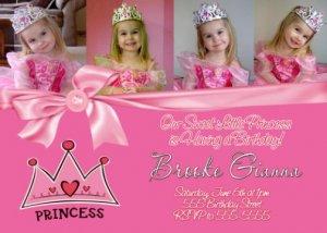 BOUTIQUE PRINCESS CROWN TIARA Birthday Party Photo Invitation