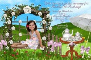 TEA PARTY Garden Photo Birthday Invitation