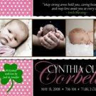 SHAMROCK IRISH BLESSING Baby Girl Birth Announcement