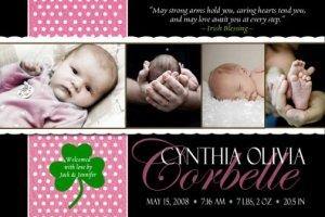SHAMROCK IRISH BLESSING Baby Girl Birth Announcement