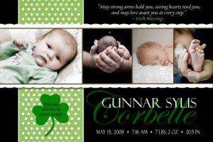 IRISH BLESSING SHAMROCK Baby Boy Birth Announcement