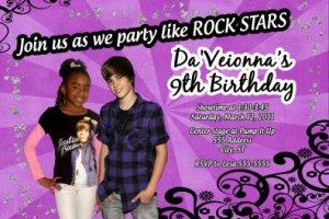 Justin Beiber Photo Birthday Party Invitations