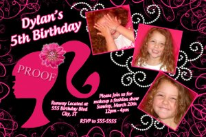 Barbie Silhouette Hot Pink Black Birthday Invitation Glitter Pearls