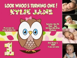 Look Whoo S Turning One Owl 1st Birthday Invitations