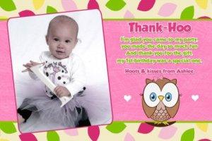 OWL 1st, 2nd, 3rd Photo Birthday Invitation Thank You Card
