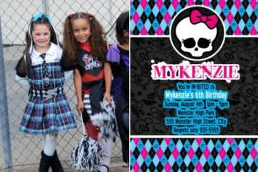 Monster High Birthday Invitations Thank You Cards with Photos