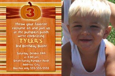 Orange Pumpkin Fall Birthday Invitations Thank You Cards