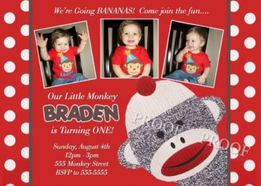 Sock Monkey Party Supplies Birthday Invitations Thank You Cards