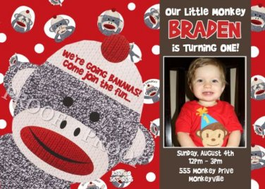Sock Monkey Birthday Invitations or Thank You Cards