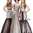 Xcite Prom by Impression Champagne Black Overlay Mermaid Skirt Evening Dress