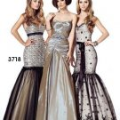 Xcite Prom by Impression 3718 Gold Black Overlay Mermaid Skirt Evening Dress