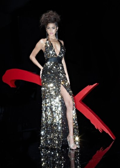 Xcite Prom 3725 Halter Full Sequins Empire Wast Evening Dress