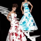 Xcite Prom 3767 Halter Fitted Print Mermaid Evening Dress
