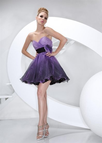 Xcite Prom 3809 Purple Halter Strapless Silk Organza Cocktail Dress