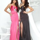Xcite Prom 3810 V Neckline Fit Bodice High Slit Dress