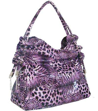 Faux Patent Leopard Print Tote (Purple)