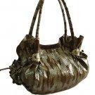 Metallic Zebra Look with Ruffles Handbag (Brown)