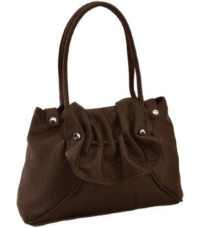 Washed Ostrich Silver Tone Hardware Handbag (Brown)