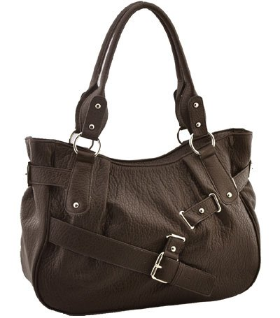 Washed Ostrich Belting Accent In Front Handbag (Brown)