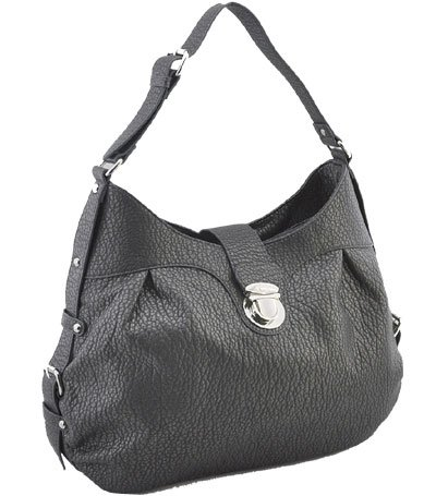 Washed Ostrich Leather Look Handbag (Pewter)