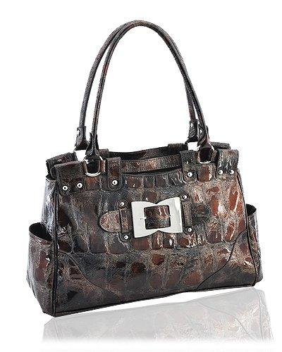 High Quality Synthetic Python Leather Look Handbag (Brown)