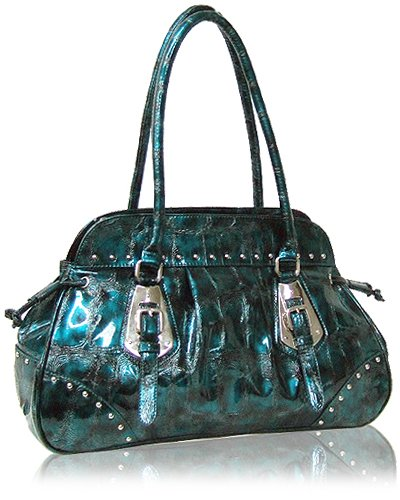 Buckle Detail with Shiny Python Leather Look Handbag (Blue)