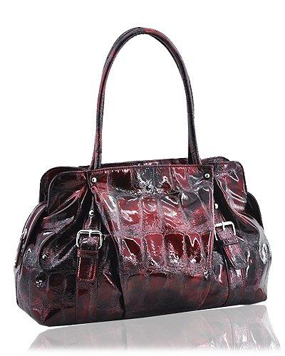 Synthetic Python Leather Look Handbag (Wine)