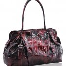 Synthetic Python Leather Look Handbag (Wine)