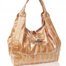 High Quality Synthetic Python Leather Look Hobo (Tan)