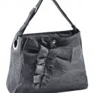 Washed Adjustable Shoulder Strap Ostrich Handbag (Pewter)