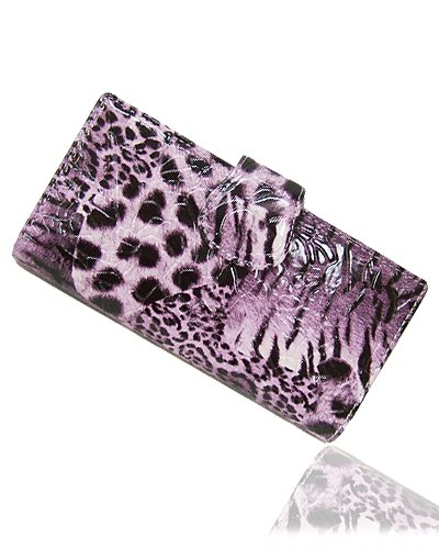 Faux Animal Print Leather Wallet with Flap Closure (Purple)