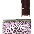 Faux Animal Print Leather Wallet with Clip Lock Closure (Purple)