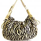 Decorative Zebra Print with Studs Details Handbag (Gold)