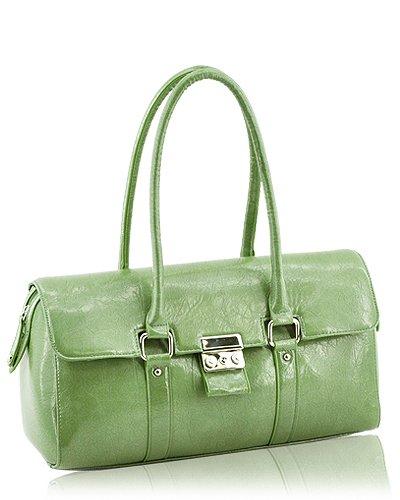 Glazed Leather Look Handbag (Moss Green)