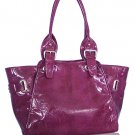 Glazed Leather Look Handbag (Purple)
