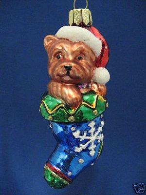 YORKIE YORKSHIRE TERRIER DOG STOCKING GLASS ORNAMENT